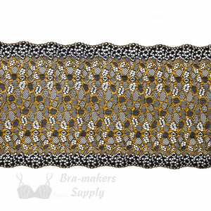 "Lace, Stretch Lace, 7"" Black Copper Leopard Stretch Lace, 7 inch"