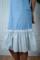 Blue Cotton Prairie Midi Dress
