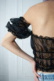 Black Organza Peasant Top