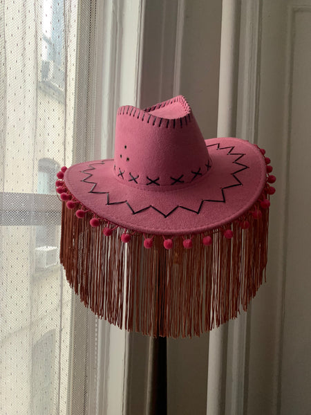 Ride 'Em Cowgirl Hat with Fringe - Pink with Pom Pom
