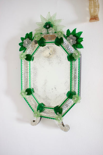 Rare Antique Green Venetian Murano Glass Mirror