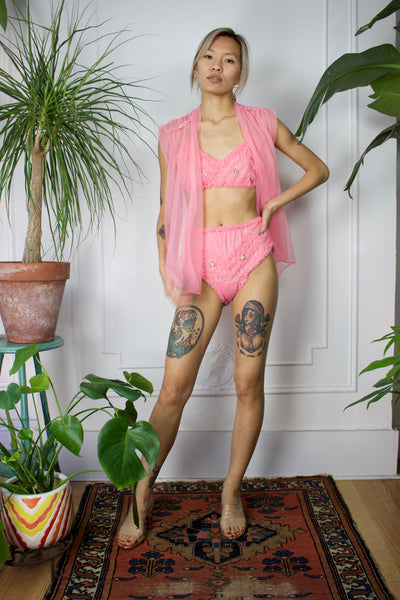 1950s Pink Three Piece Lingerie Set