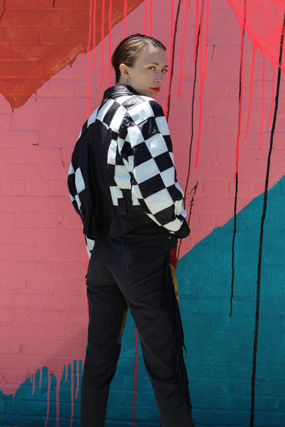 Cache Checkerboard Moto Leather Jacket
