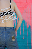 Lattice Scalloped Pearl Crop Top