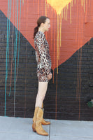 Y2K Leopard Mesh Mini Dress