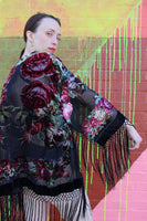 Black Rose Burnout Velvet Robe