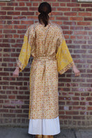 Yellow Silk Sari Robe