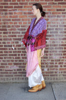 Purple and Yellow Silk Sari Robe