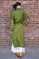 Green Floral Silk Sari Robe