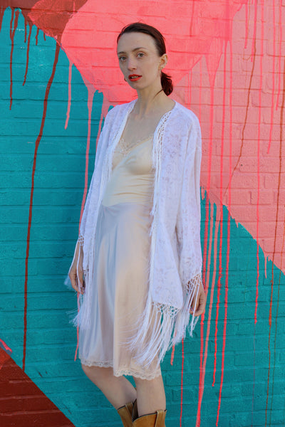 Witchy White Burnout Velvet Robe