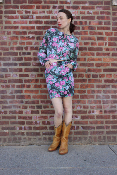1980s Floral Denim Two Piece Set