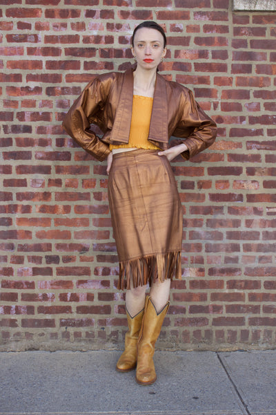 Leather Copper Fringe Skirt and Jacket Set