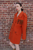 Orange Fringe Wool Mondi Coat