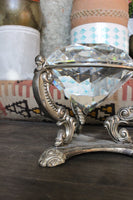 Antique Crystal Diamond on Brass Pedestal