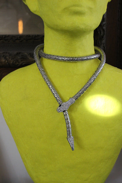 Chainmail Silver Snake Lariat