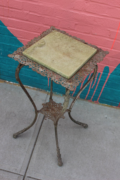 Victorian Jade Marble Filigree End Table