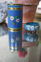 Antique Blue Floral Enamel Jar