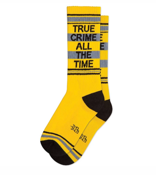 TRUE CRIME ALL THE TIME Statment Socks