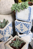 Blue and White Distressed Tile Planter