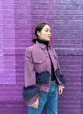 Purple Passion Faux Fur Denim Jacket by WE DO GOOD FUN