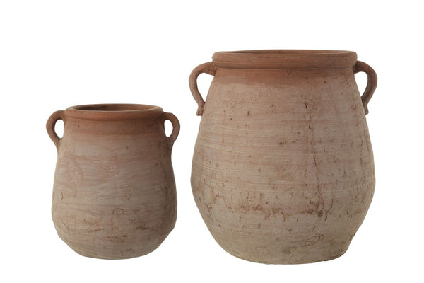 Washed Terra Cotta Urns ~ Two Sizes