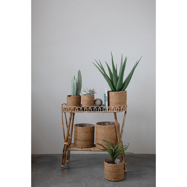 70s Bamboo Plant Stand w/ Shelf