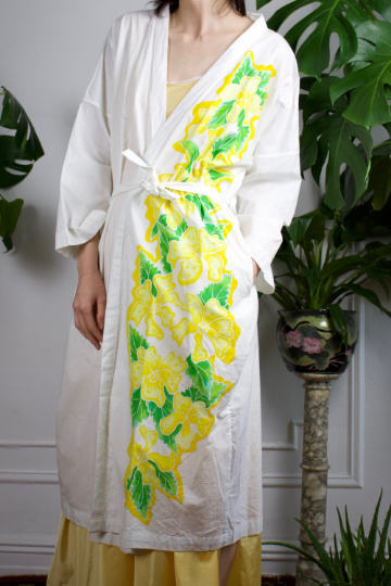 70s Indonesian Cotton Robe with Yellow Flowers