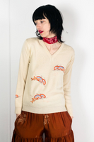 50s Dolphin Embroidery Sweater