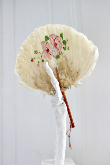 Painted Victorian Feather Fan