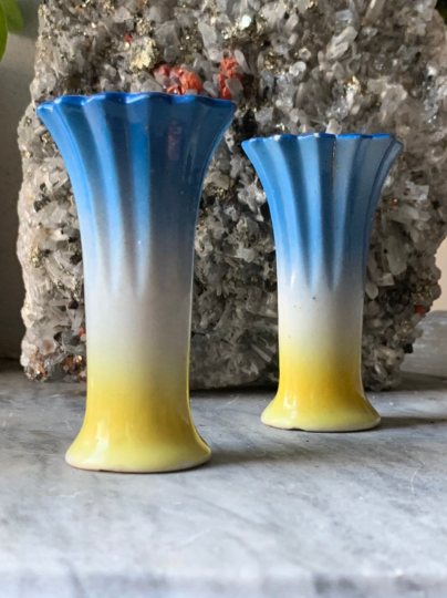 Technicolor Day Glow Chalk Ware Vase