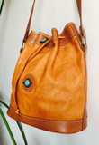 Southwestern Turquoise and Leather Bucket Bag