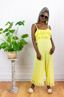 60's Yellow Ruffle Jumpsuit