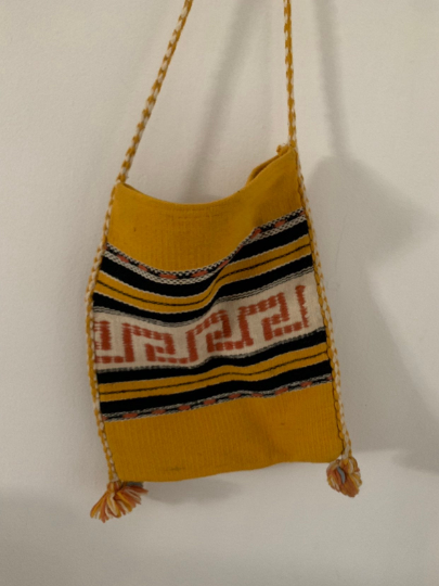 Yellow Greek Motif Travel Crossbody Tote