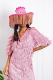 Ride 'Em Cowgirl Hat with Fringe - Pink Pom Pom