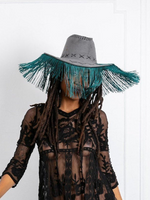 Ride 'Em Cowgirl Hat with Fringe - Grey