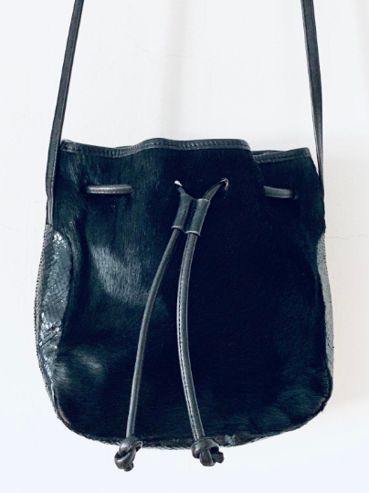 Carlos Falchi Pony Hair and Leather Purse