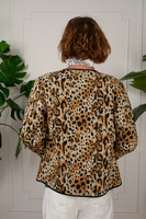 Leopard Print Quilted Cropped Jacket