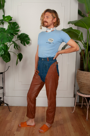 Howdy Cowboy Leather Chap Jeans