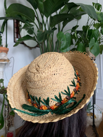 Woven Straw Hat with Embroidered Raffia Flowers