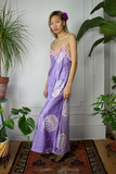 Purple Fringe Slip Midi Dress