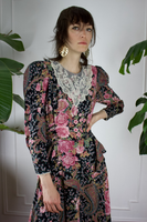 1980s Floral Lace Prairie Mutton Sleeve Dress