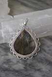 Silver and Labradorite Teardrop Pendant