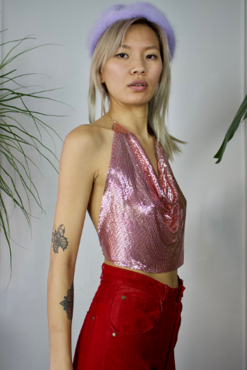 Pink Metal Mesh Disco Crop