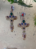 Madonna Jewel Cross Earrings