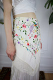 Silk Fringe Embroidered Skirt