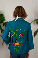 40s Embroidered Felt Souvenir Jacket