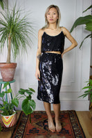 Black 80s Sequin Crop Two Piece