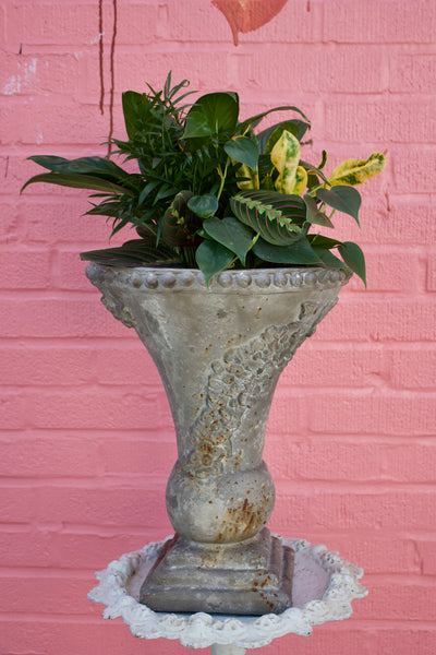 Distressed Italian Composite Urn with Grapes