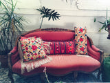 Modern Victorian Coral Velvet Couch