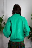 Kelly Green Suede Bomber